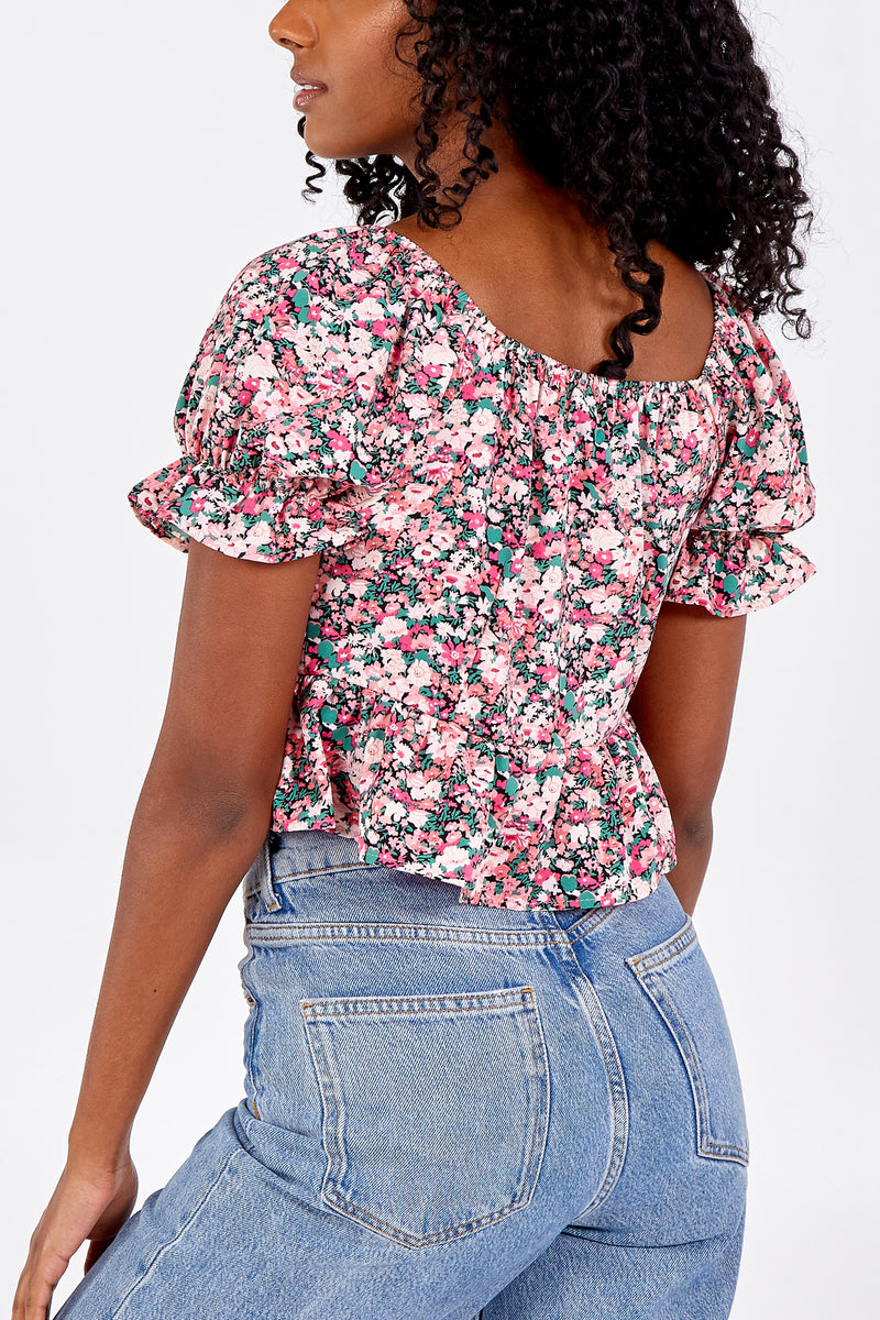 Floral Crop Top With Front Tie
