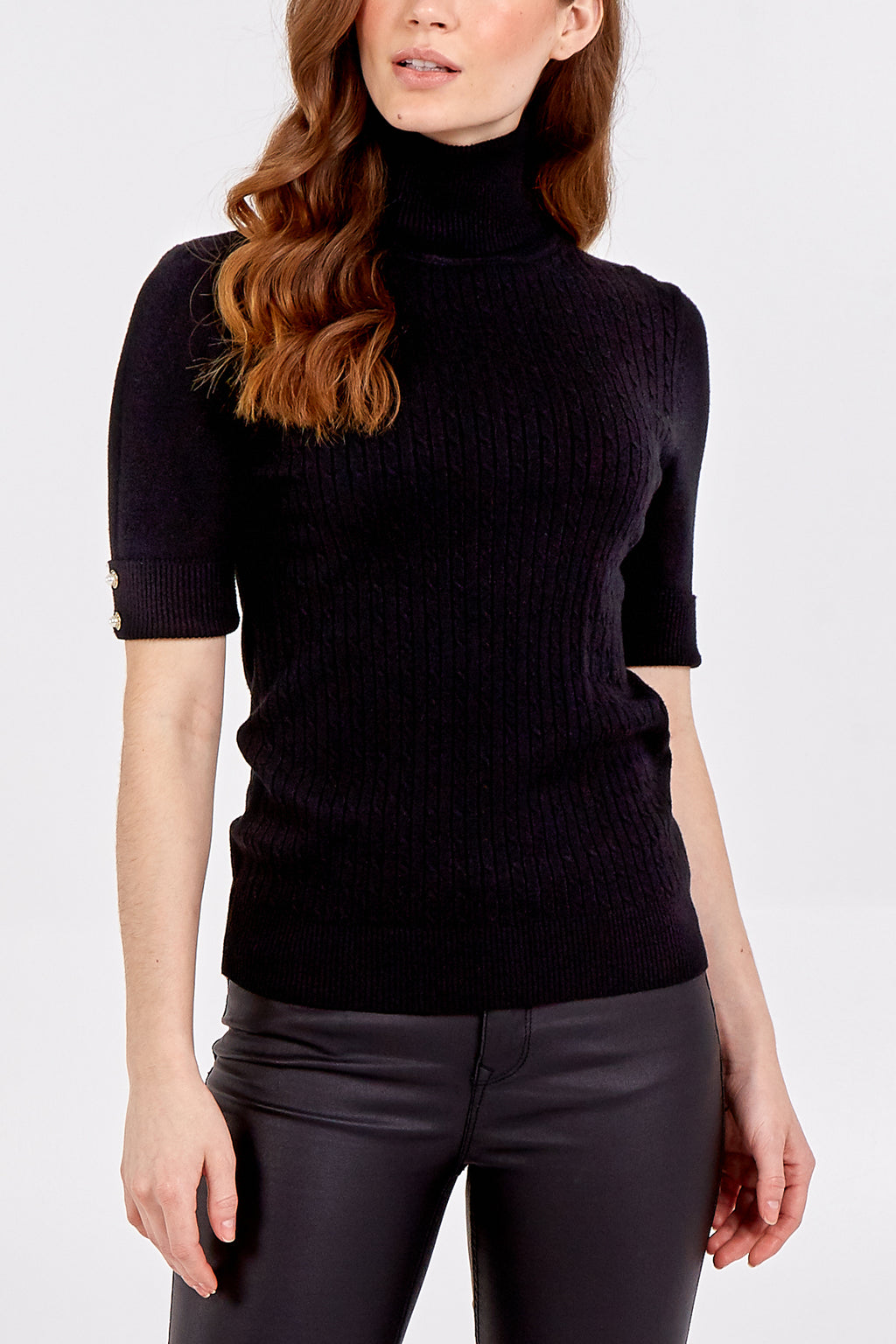 Short Sleeve Cable Knit Roll Neck With Pearl Button Detail
