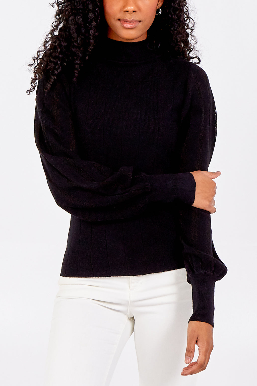 Stripped Balloon Sleeve High Neck Jumper