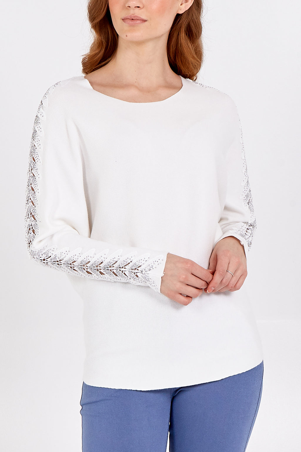 Ribbed Batwing Jumper With Diamante Sleeve Detail