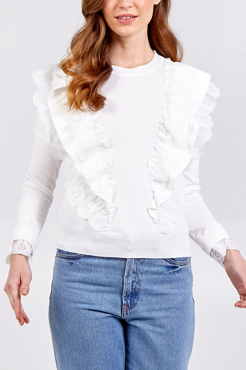 Layered Lace Front Top With Lace Cuff