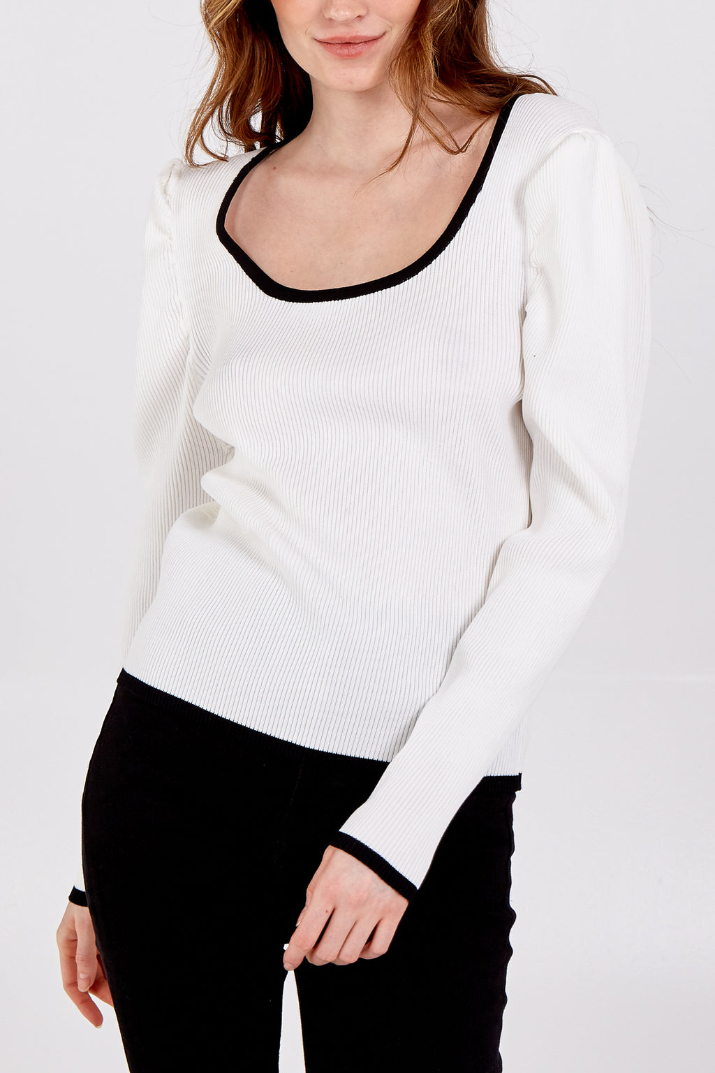 Scoop Neck Jumper With Contrasting Hem