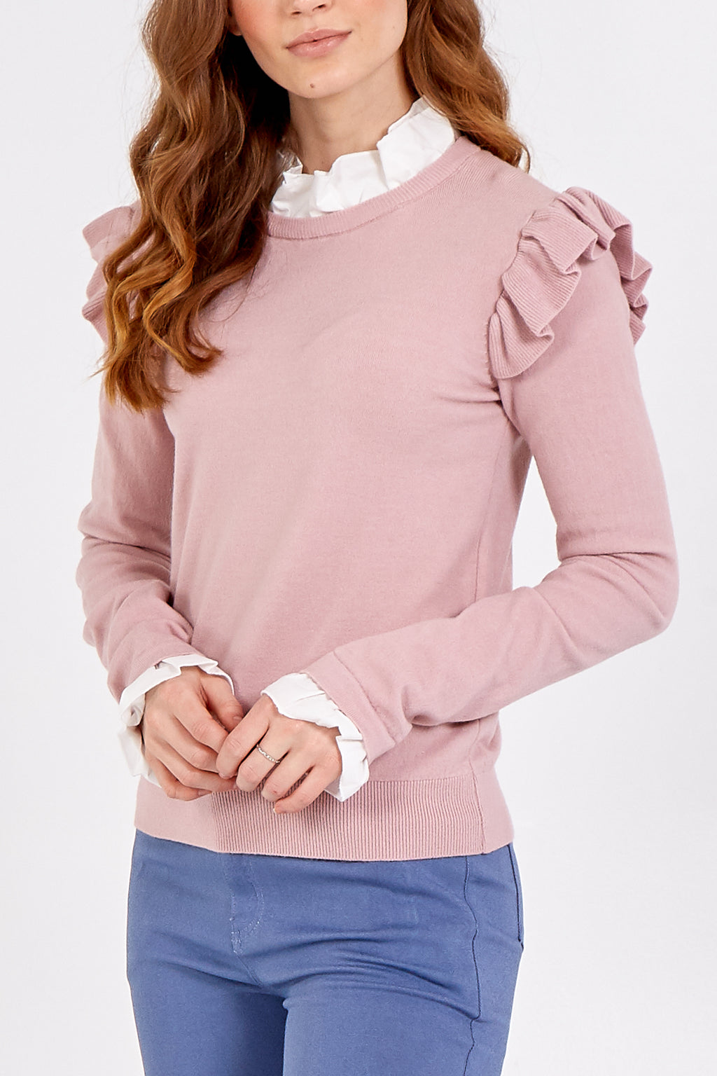 Ruffle Shoulder Jumper With Frill Neck And Cuff