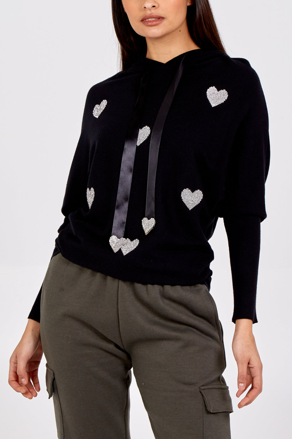 Pullover Knit Hoodie With Embellished Hearts