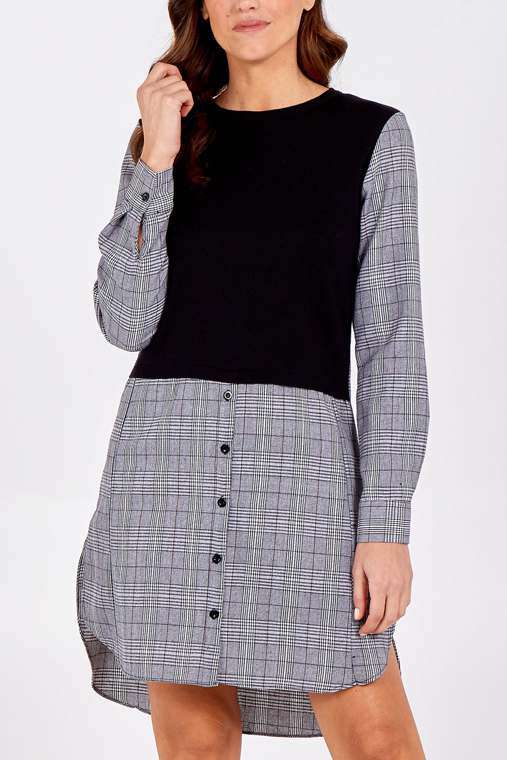 Long Checked Shirt With Knit Pullover Vest