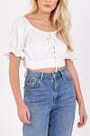 Puff Sleeve Gold Button Detail Crop Top