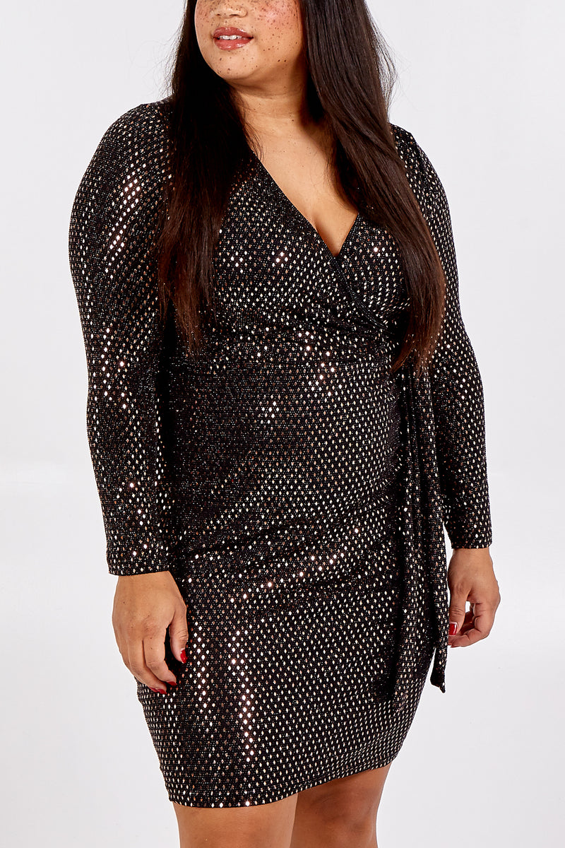 Curve - Metallic Diamond Wrap Dress