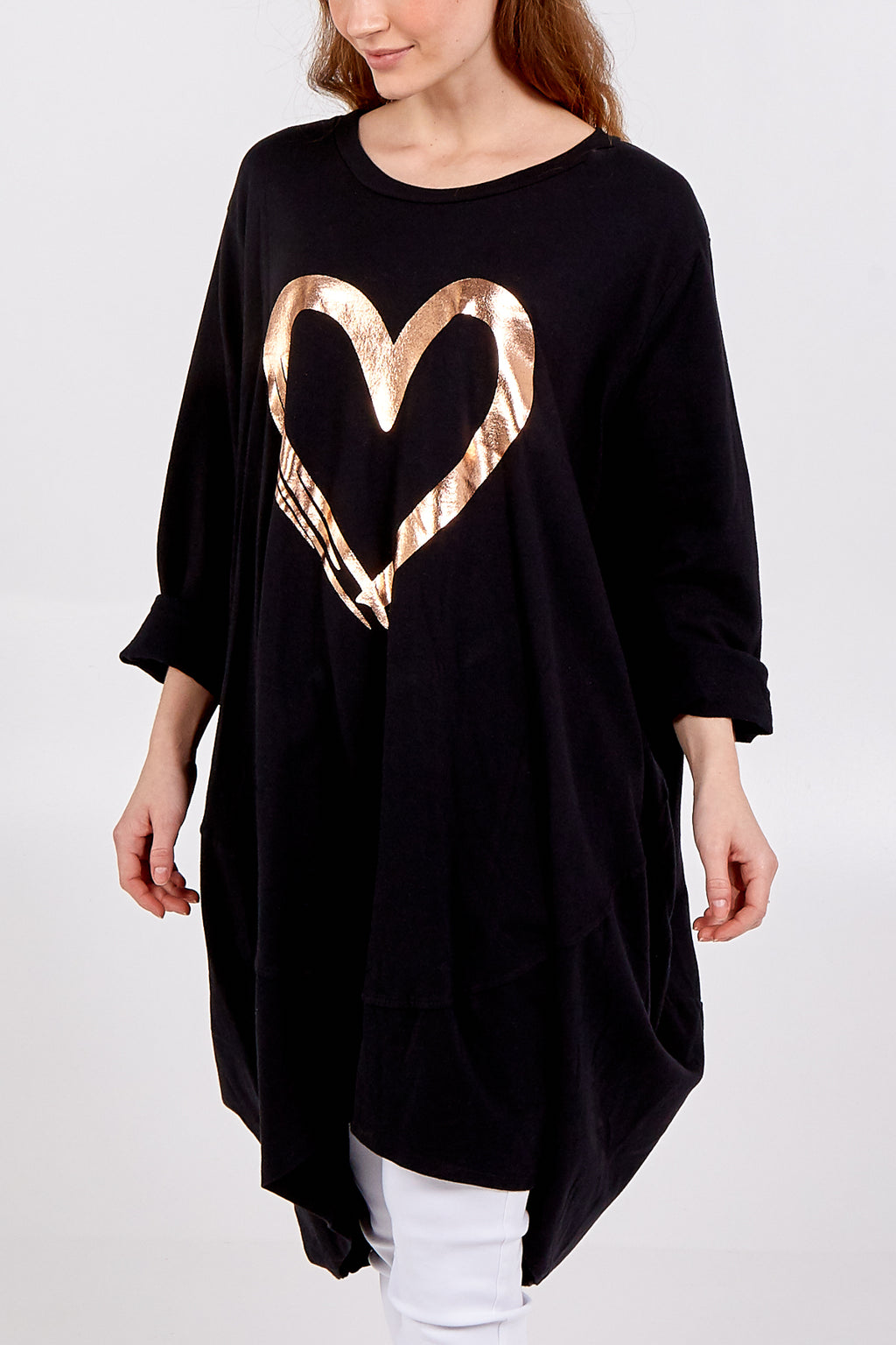 Gold Heart Asymmetrical Long Sleeve Sweatshirt