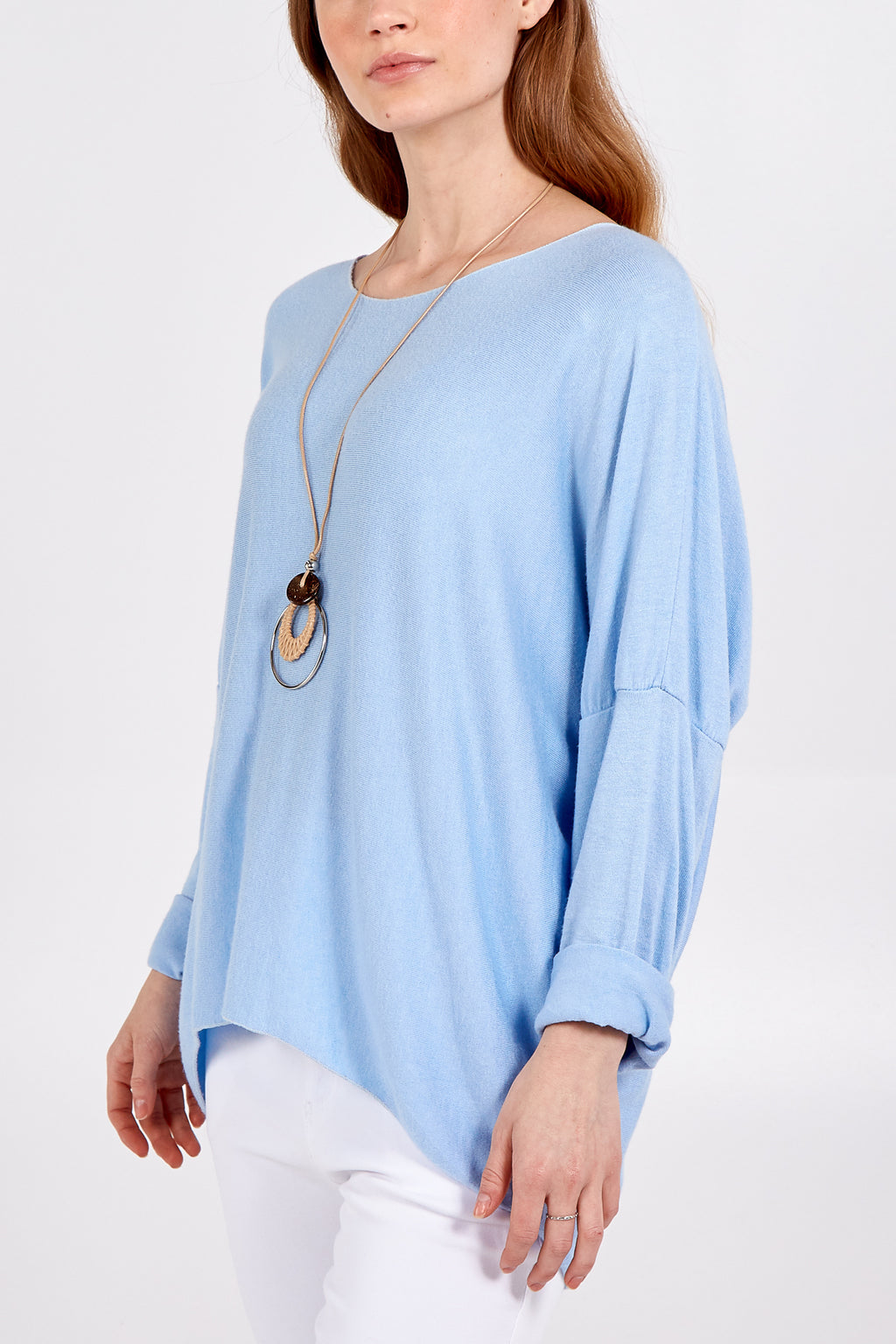 Soft Knit Fine Gauge Long Sleeve Jumper With Necklace