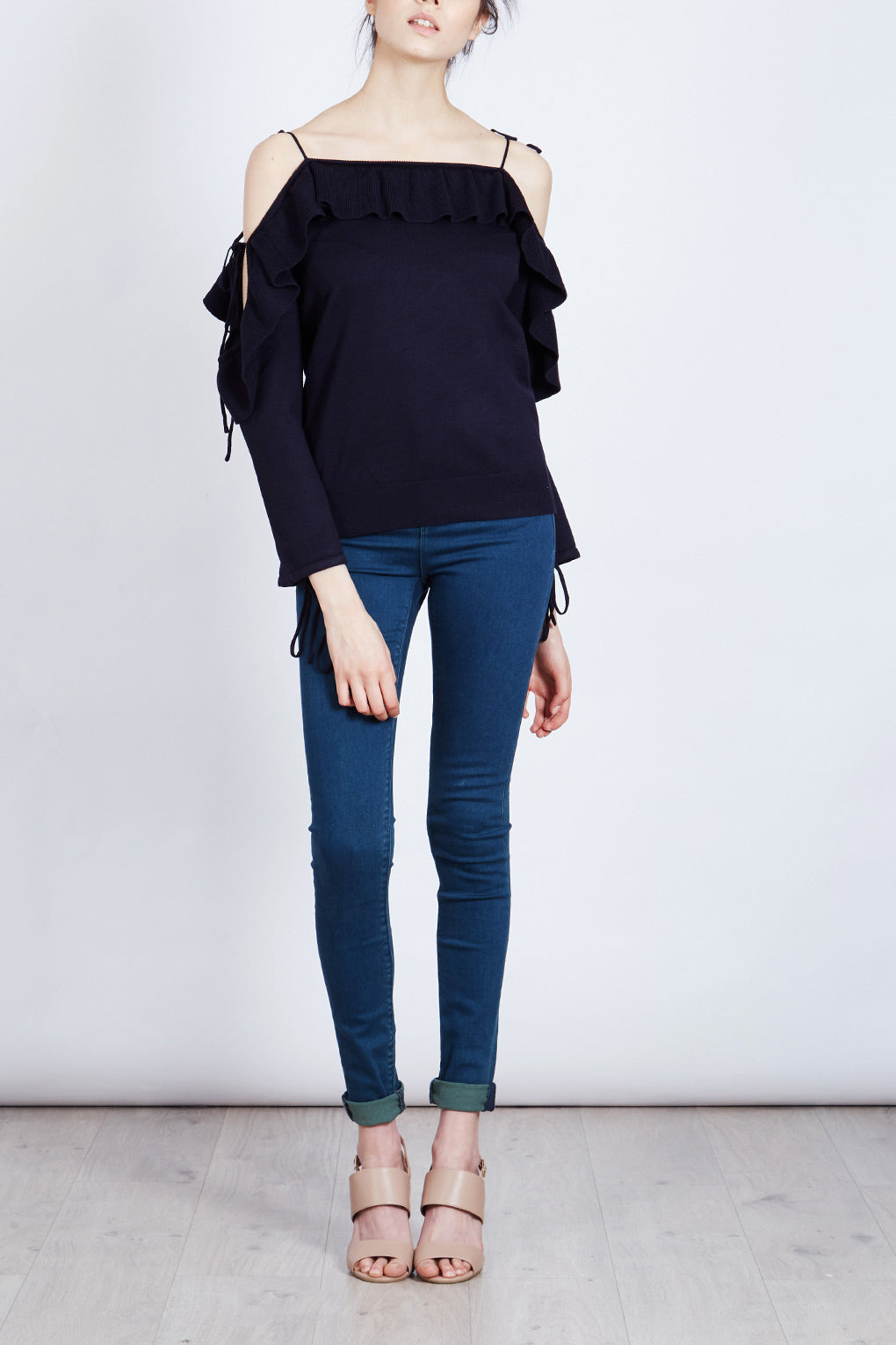 Frill Cold Shoulder Jumper