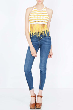 Crochet And Tassels Tie Back And Neck Top