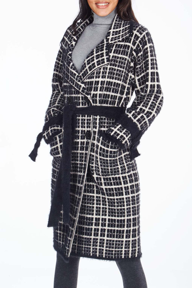 Belt Sleeve And Waist Detail Check Coat
