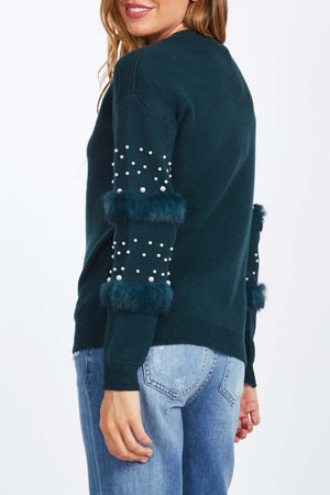 Fur And Pearl Sleeve Detail Jumper