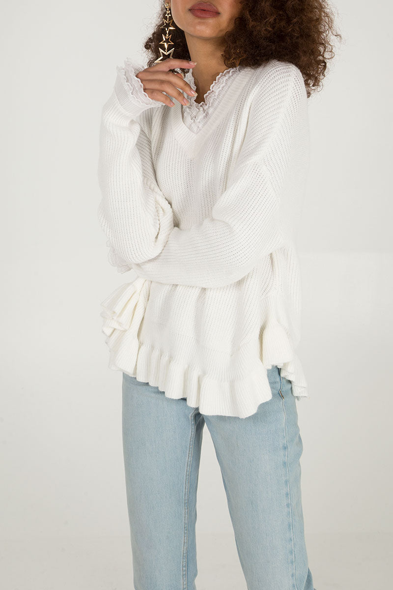 V Neck Ruffle Jumper
