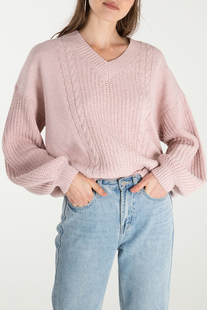 Balloon Sleeve Knitted Jumper