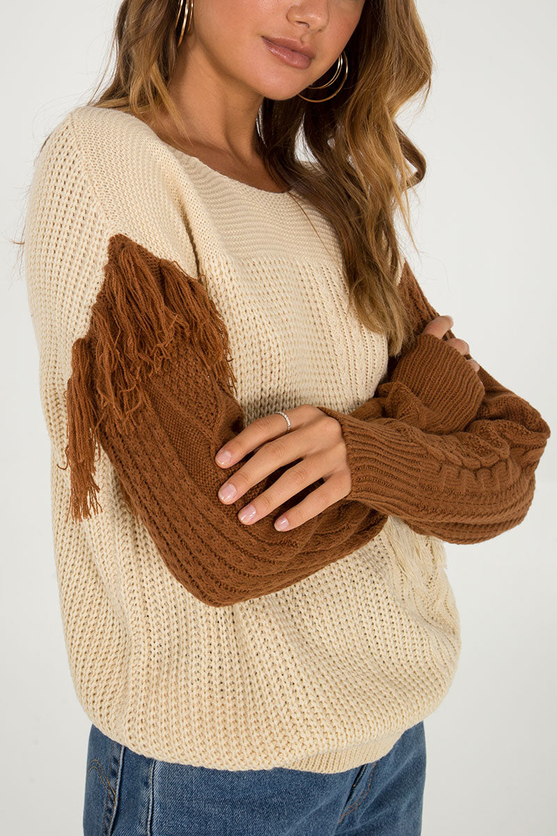 Two tone Tassel Detail Knitted Jumper