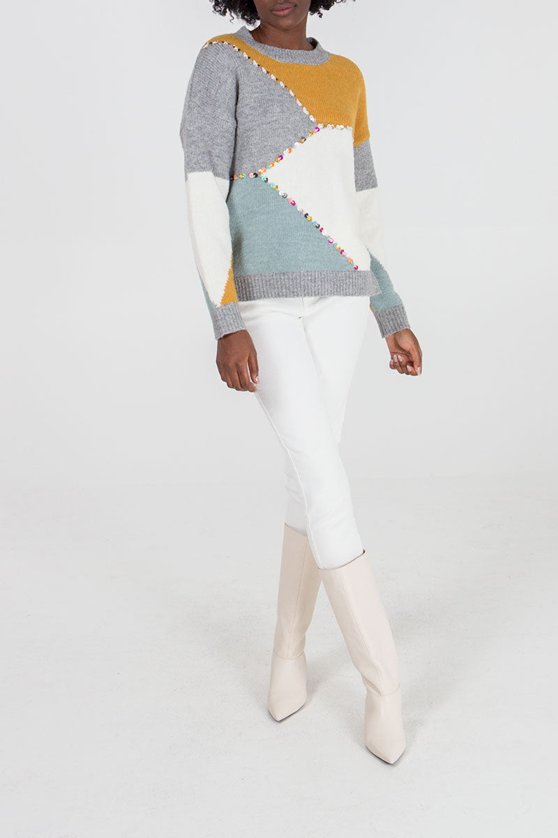 Colour Block Sequin Detail Jumper