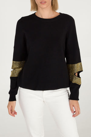 Cut Away Elbow Bling Detail Jumper