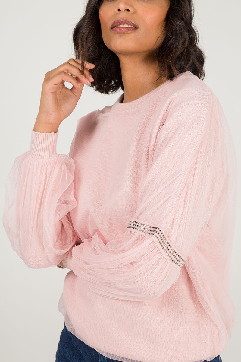 Mesh Overlay Diamante Sleeve Jumper