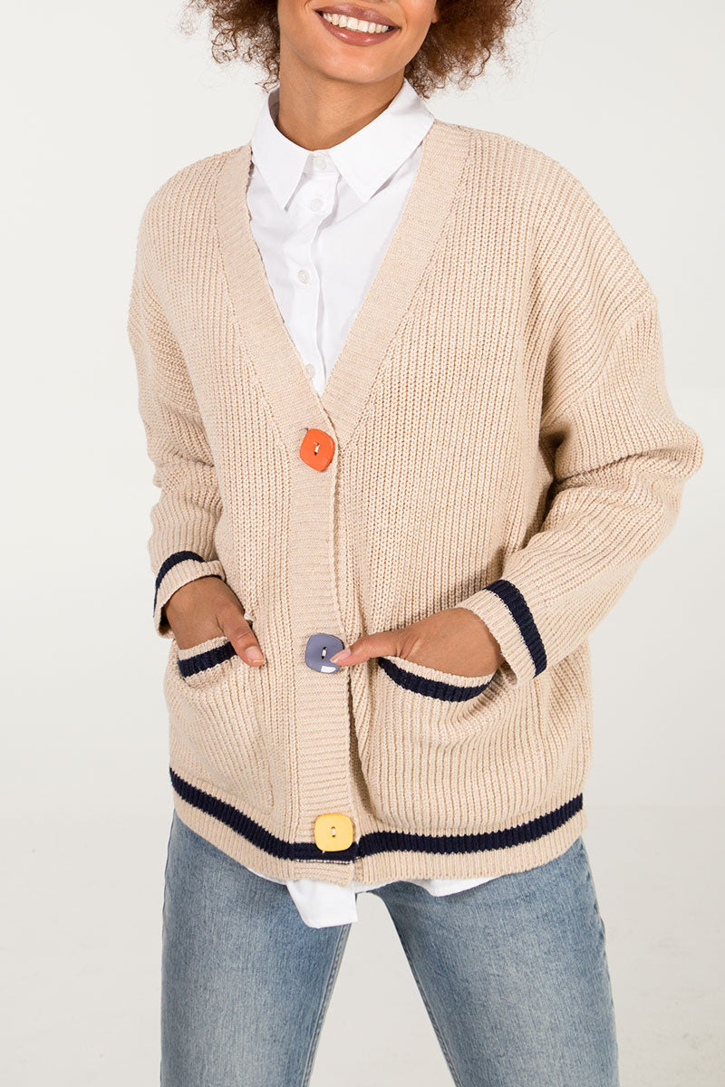 Multi Colour Button Two Pocket Cardigan