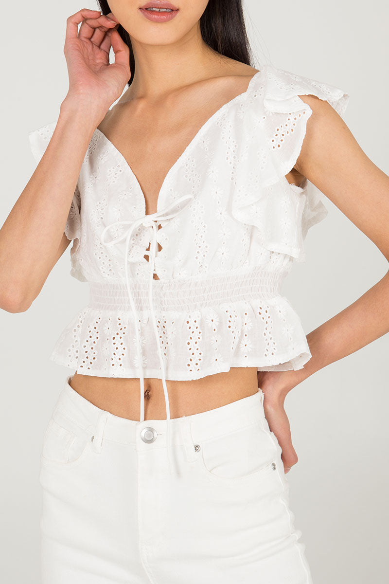 Broderie Anglaise Ruffle Sleeve Top