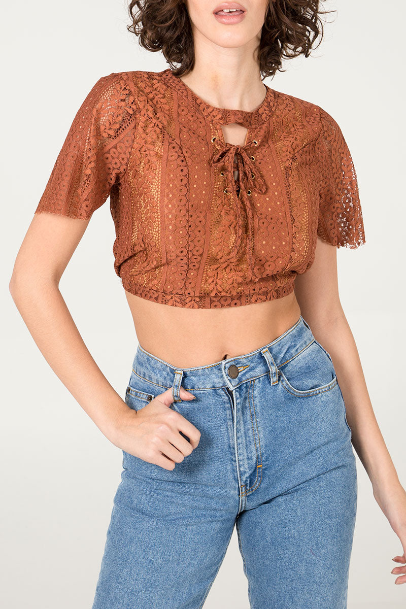 Lace Tie Front Crop Top