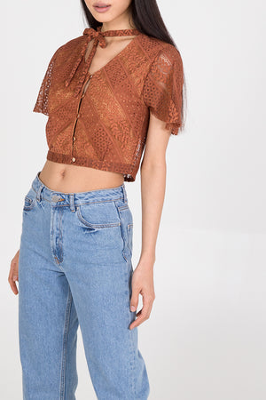 Lace Button Through Crop Top