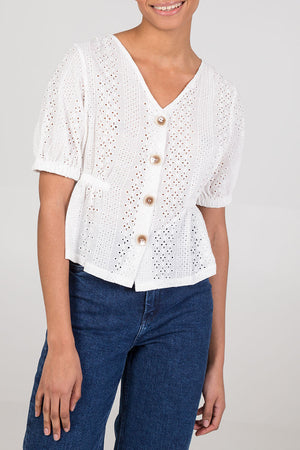 V-Neck Button Down Top