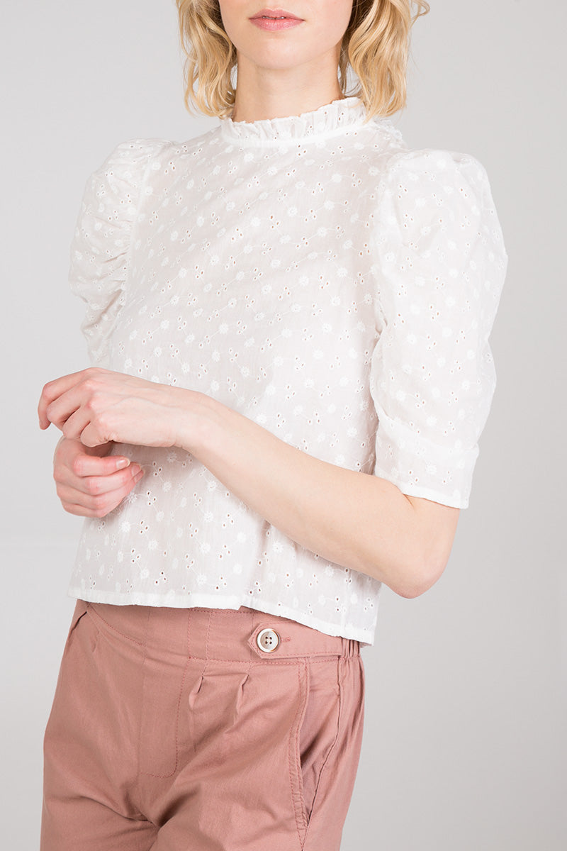 Embroidered Puff Sleeve Blouse