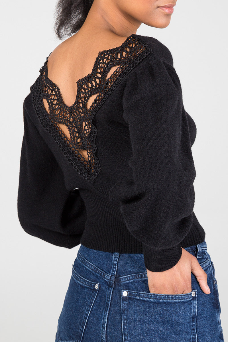 Crochet Back Puff Sleeve Jumper