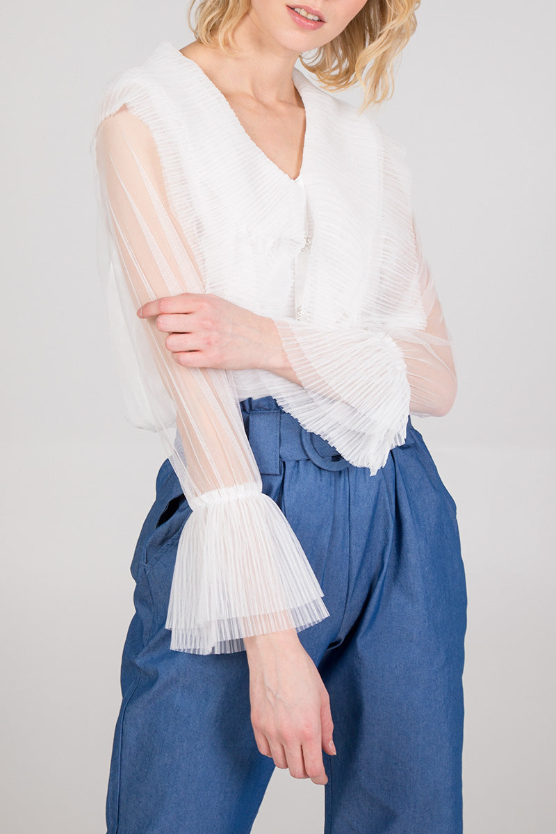 Pleated Ruffle Detail Mesh Sleeve Blouse