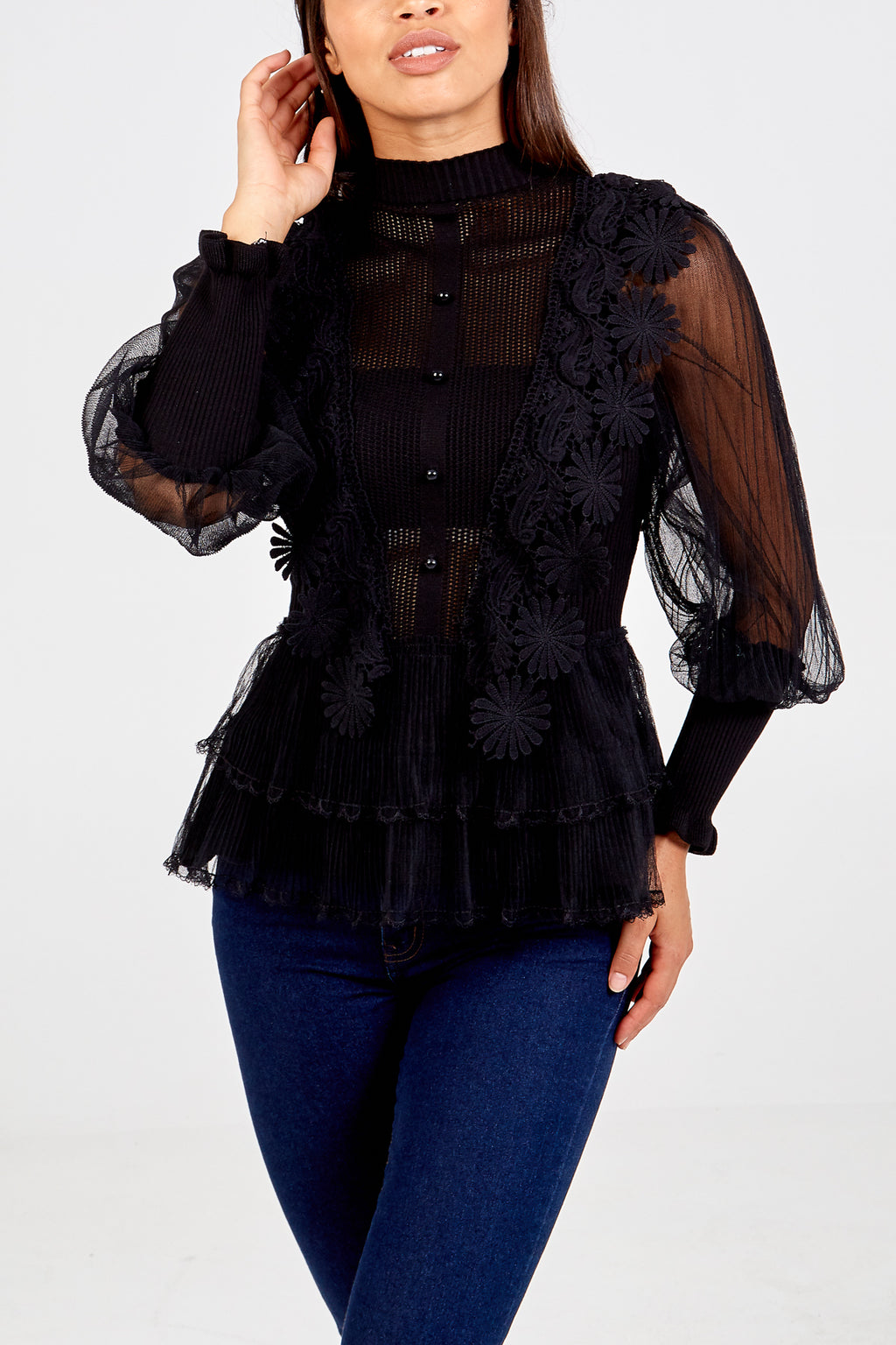 Lace Sleeve Crochet Front Peplum Top