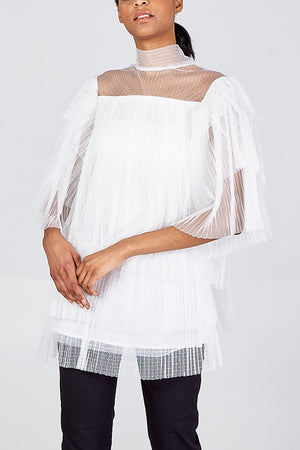 Tiered Frill Organza Top