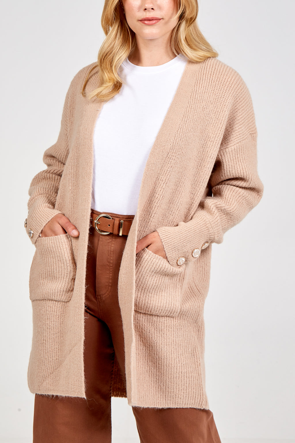 Gold Button Detailed Long Cardigan