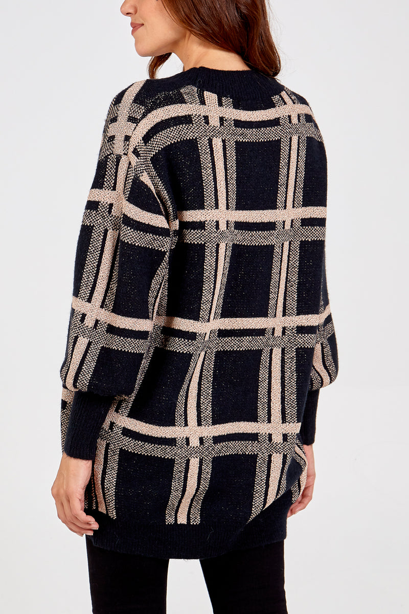 Balloon Sleeve Check Print Cardigan
