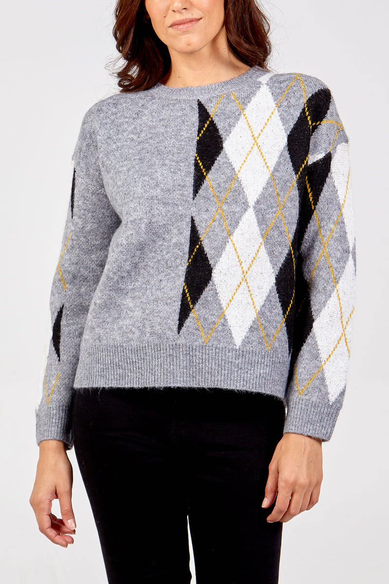 Diamond Check Knit Jumper