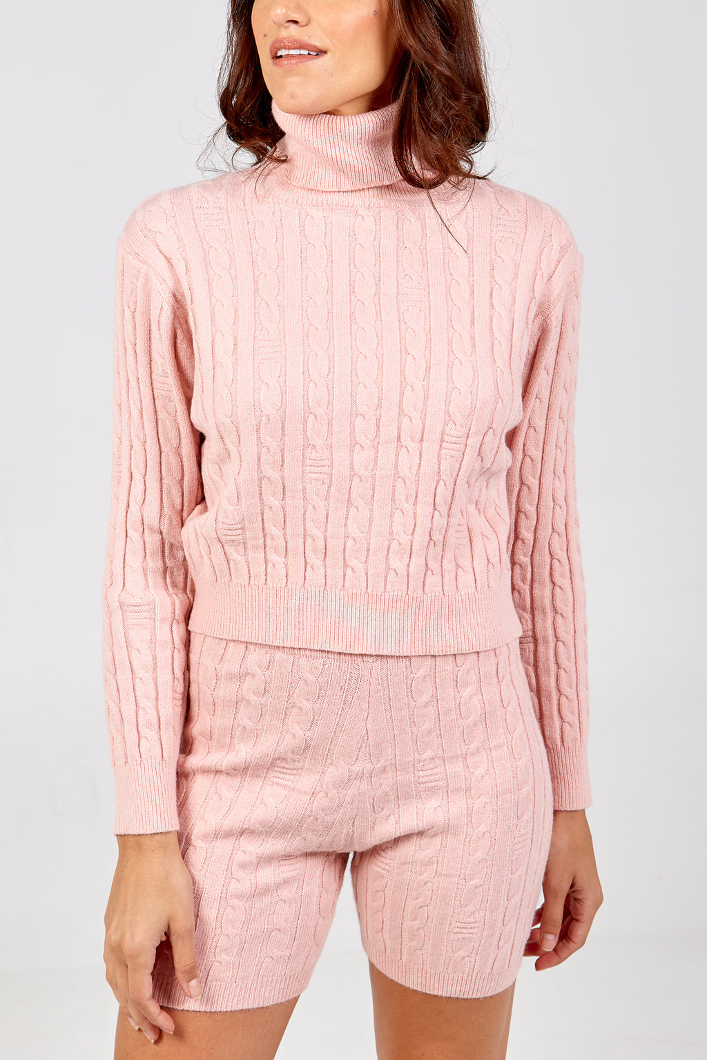 Cable Knit Roll Neck Jumper & Short Set