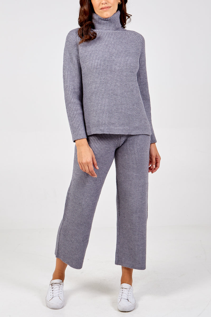 Knitted Roll Neck Jumper & Wide Leg Trouser Set