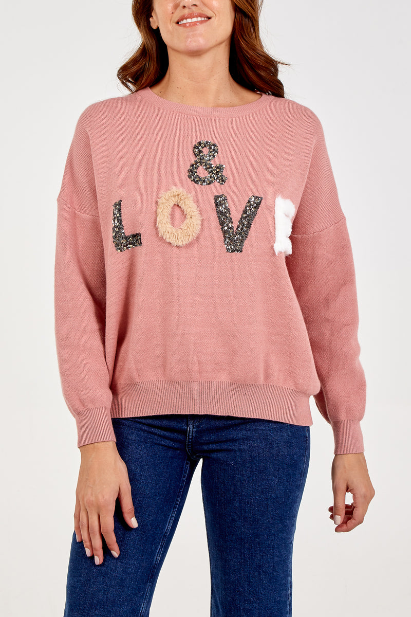 Embellished Love Jumper