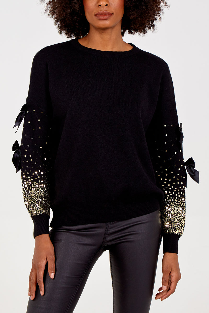 Bow And Sequin Sleeve Jumper