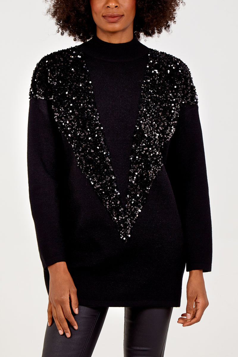 Sequin V Panel Jumper