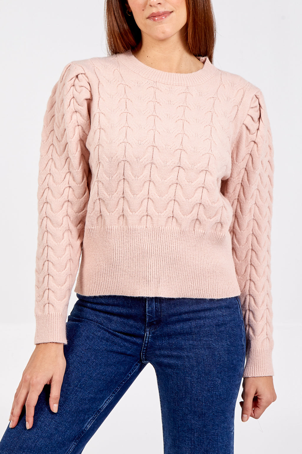 Fitted Round Neck Ribbed Trim Jumper