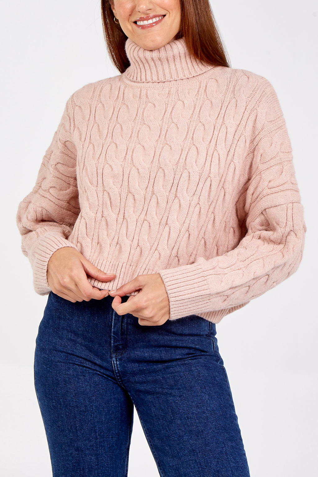 Oversized Cropped Roll Neck Jumper