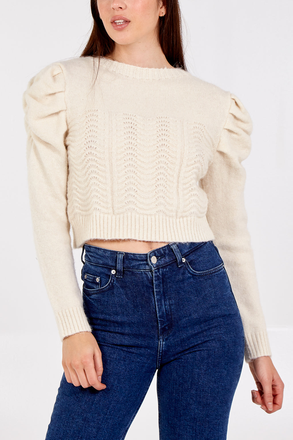 Puff Sleeve Knitted Crop Jumper