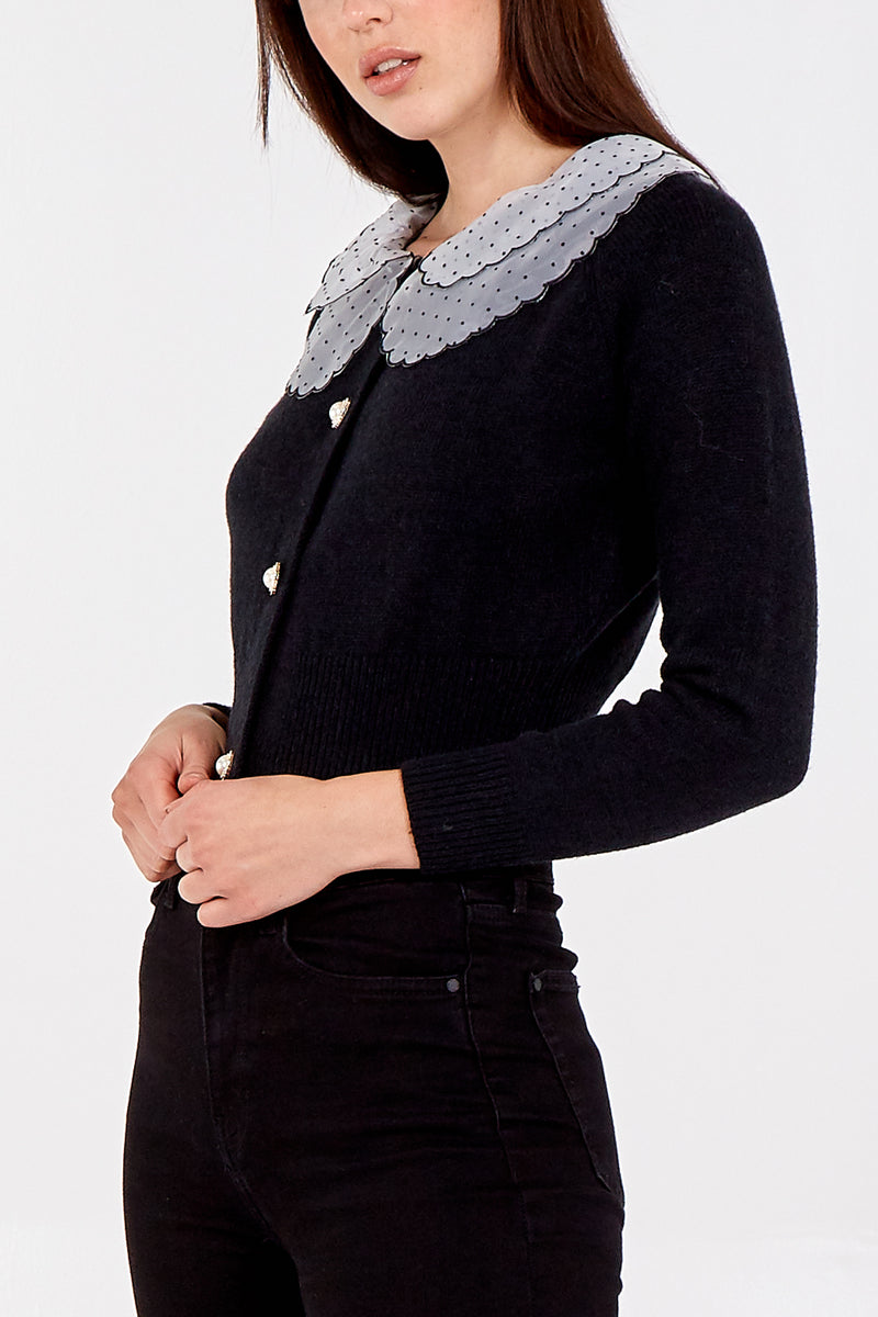 Detailed Frill Collar Button Up Cardigan