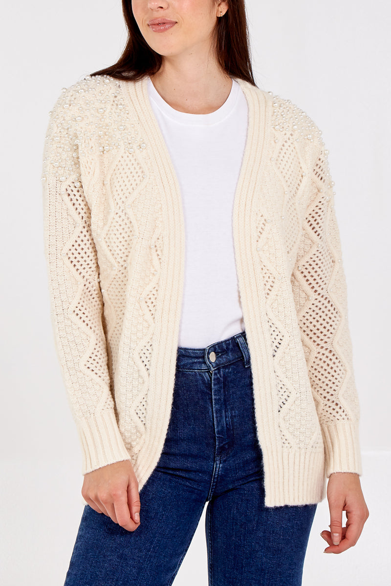 Open Front Cable Knit Pearl Detail Cardigan