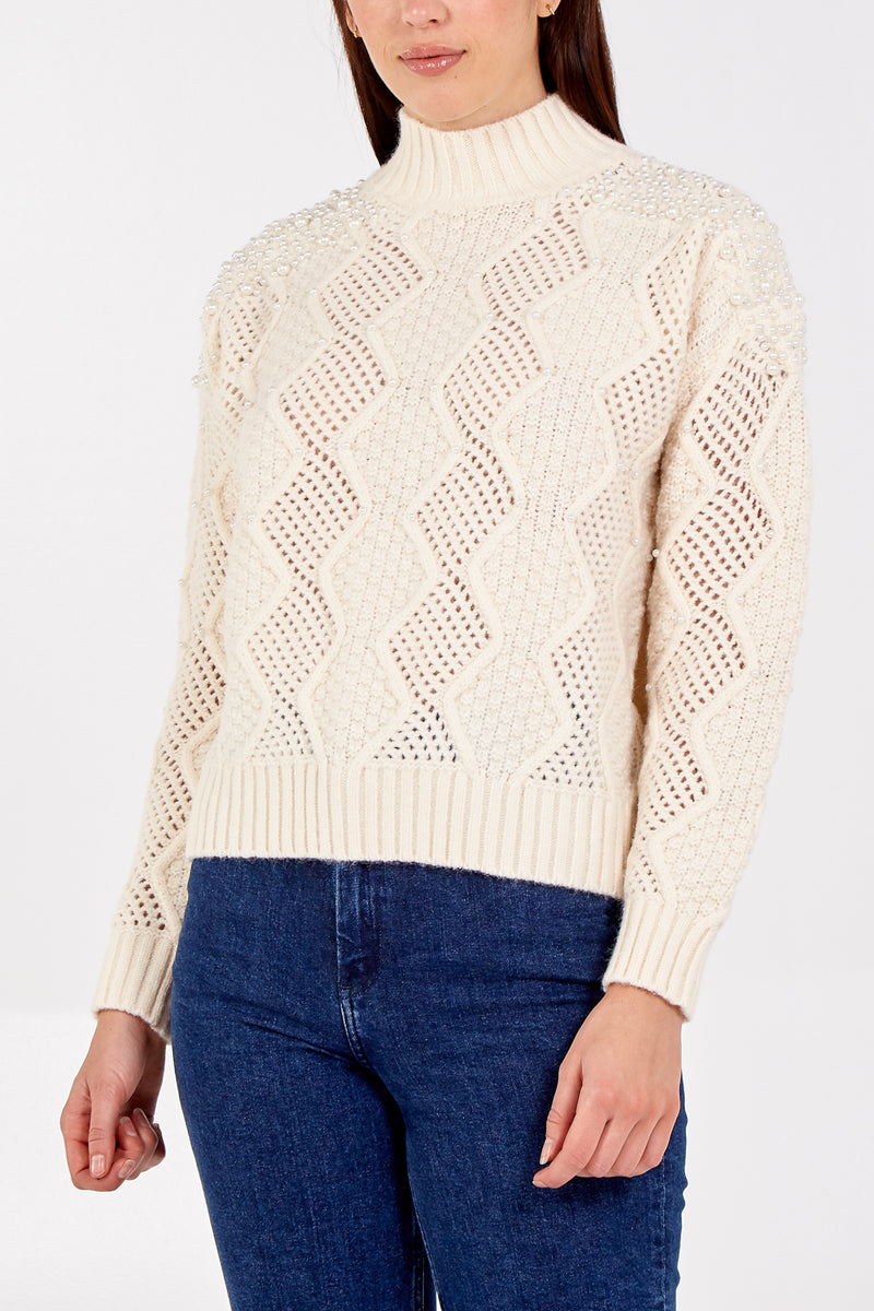 High Neck Cable Knit Pearl Detail Jumper