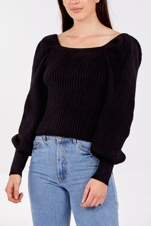 Balloon Sleeve Ribbed Square Neck Jumper