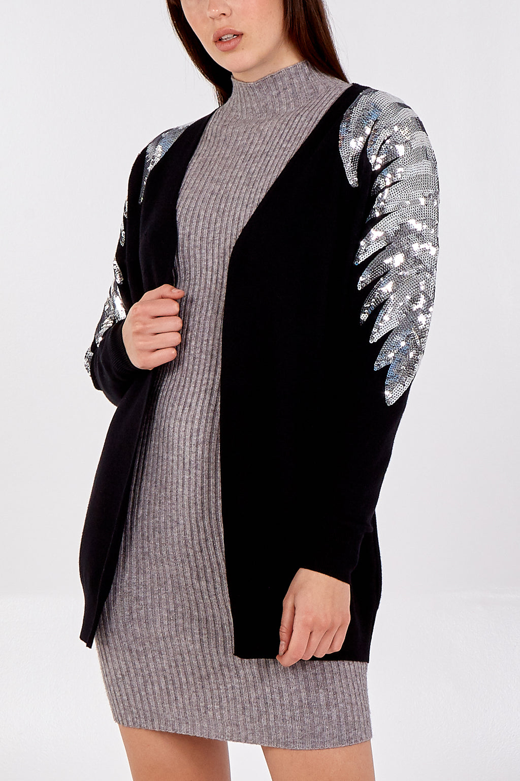 Open Front Cardigan With Silver Sequin Sleeve Detail