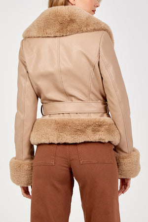 Faux Fur Trimmed PU Jacket